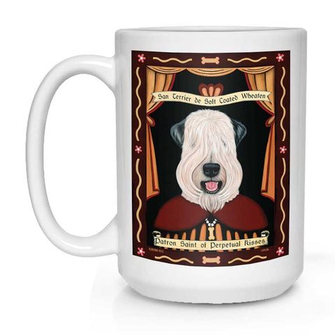 "Wheaten Terrier Art (Show Cut) ""Saint of Perpetual Kisses"" 15 oz. White Mug"