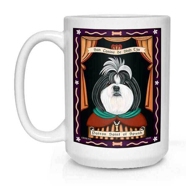 "Shih-Tzu Art (Grey and White) ""Saint of Spunk"" 15 oz. White Mug"