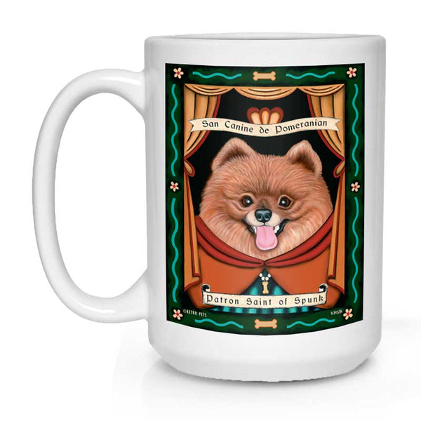 "Pomeranian Art ""Saint of Spunk"" 15 oz. White Mug"