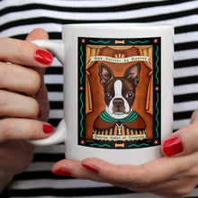 "Load image into Gallery viewer, Boston Terrier Art (Black and White) ""Saint of Tenacity"" 15 oz. White Mug"