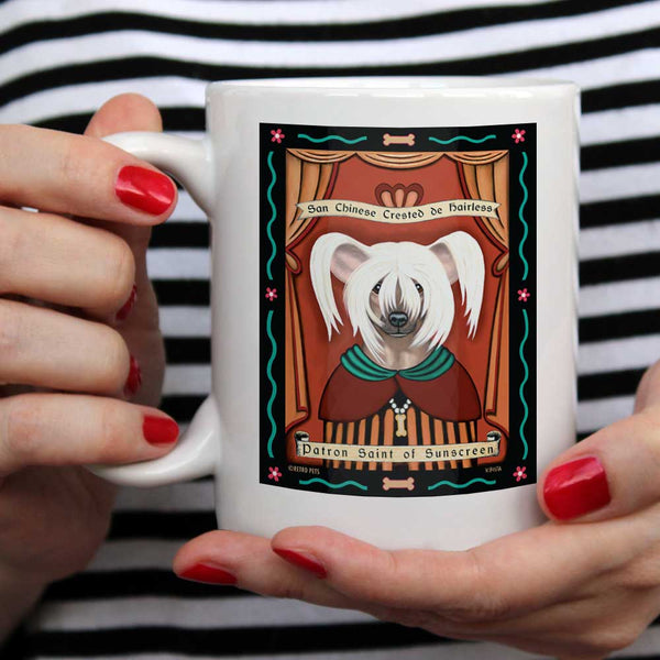 "Chinese Crested Art ""Saint of Sunscreen"" 15 oz. White Mug"
