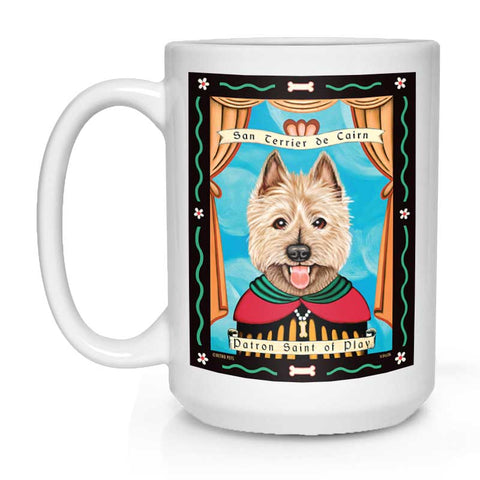 "Cairn Terrier Art ""Saint of Play"" 15 oz. White Mug"