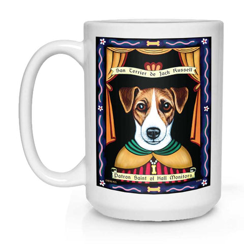 "Jack Russell Art ""Saint of Hall Monitors"" 15 oz. White Mug"