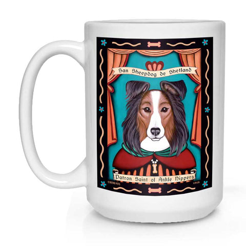"Shetland Sheepdog (Sheltie) Art ""Saint of Ankle Nippers"" 15 oz. White Mug"