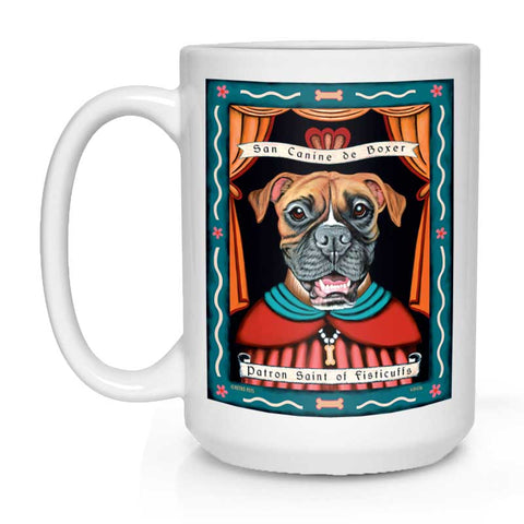 "Boxer Art ""Saint of Fisticuffs"" 15 oz. White Mug"