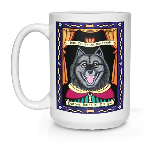 "Keeshond Art ""Saint of Smiles"" 15 oz. White Mug"