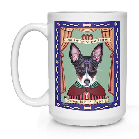 "Rat Terrier Art ""Saint of Rascals"" 15 oz. White Mug"