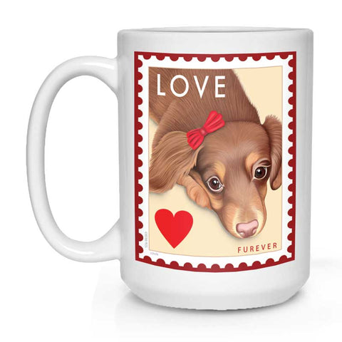 "Dachshund Art - ""LOVE Furever Stamp"" 15 oz. White Mug"