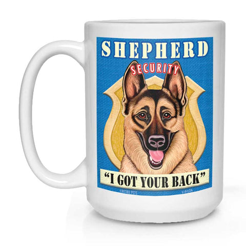 "German Shepherd Art ""Shepherd Security"" 15 oz. White Mug"