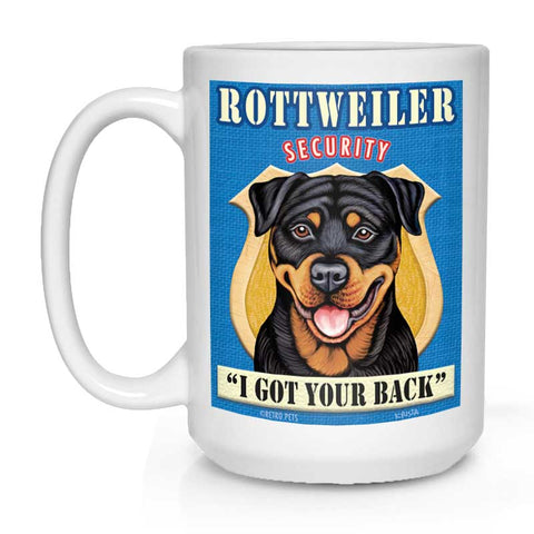 "Rottweiler Art ""Rottweiler Security"" 15 oz. White Mug"