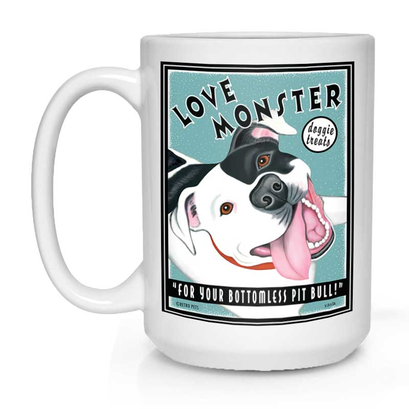 "Pit Bull Terrier Art (Black and White) ""Love Monster Doggie Treats"" 15 oz. White Mug"