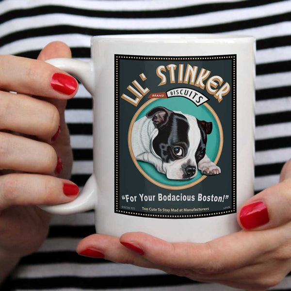 "Boston Terrier Art (Black and White) ""Lil' Stinker Biscuits"" 15 oz. White Mug"