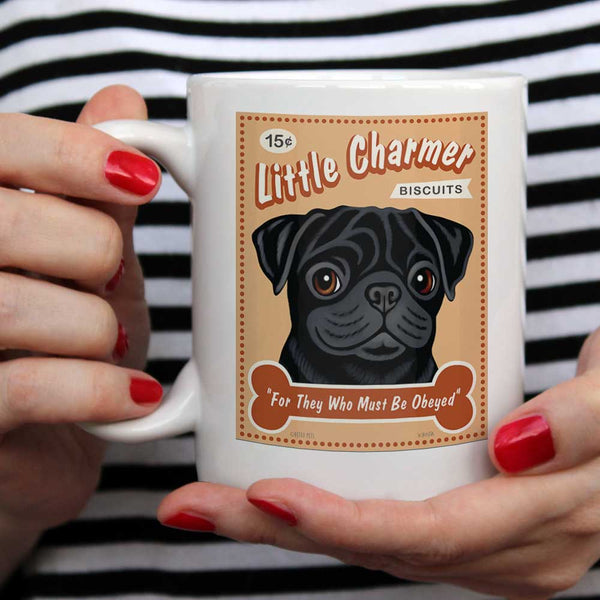 "Pug Art (Black) ""Little Charmer"" 15 oz. White Mug"
