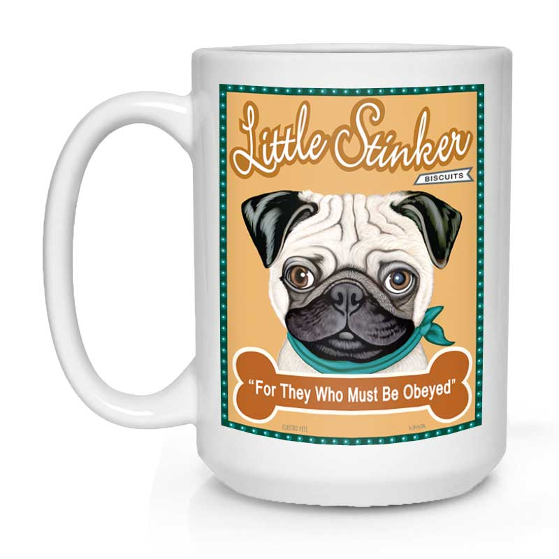 "Pug Art (Fawn) ""Little Stinker"" 15 oz. White Mug"