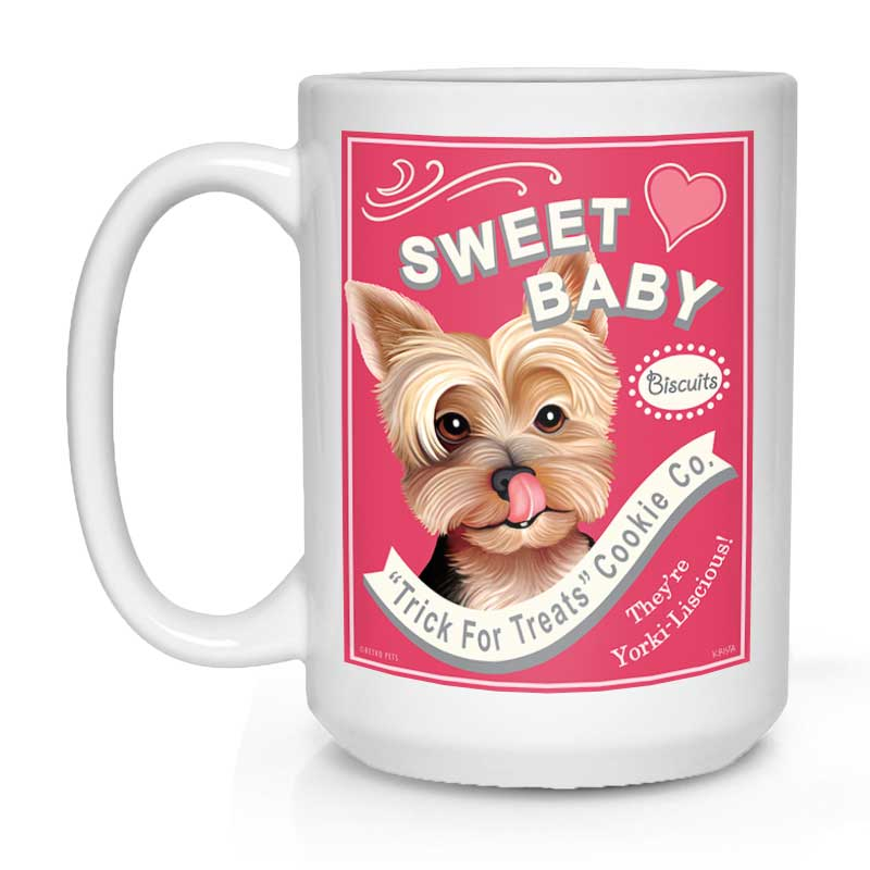 "Yorkshire Terrier Art ""Sweet Baby Treats"" 15 oz. White Mug"