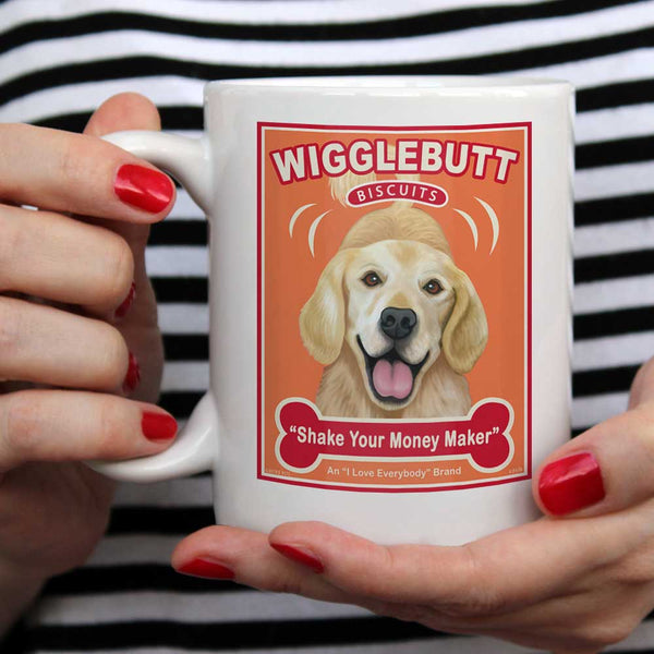 "Golden Retriever Art ""Wigglebutt Biscuits"" 15 oz. White Mug"