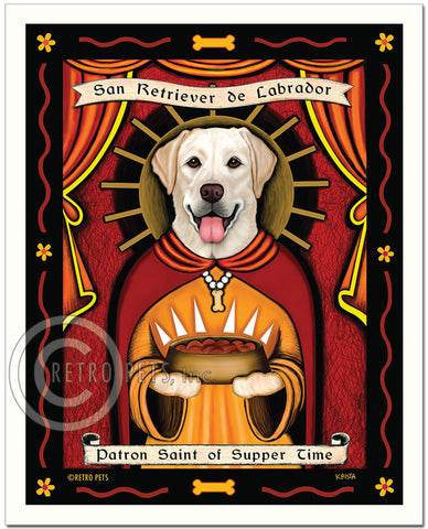 "Labrador Retriever Art - Yellow ""Patron Saint of Supper Time"" Art Print by Krista Brooks"