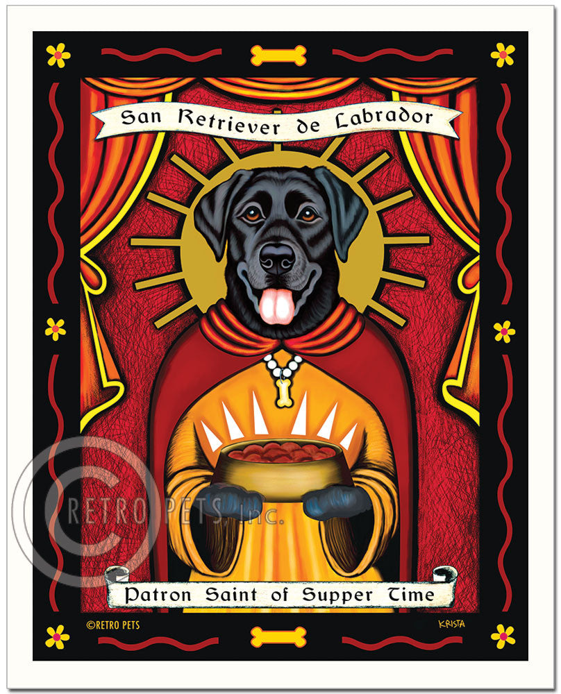 "Labrador Retriever Art ""Patron Saint of Supper Time"" Art Print by Krista Brooks"