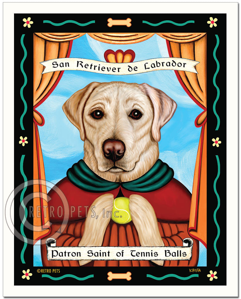 "Labrador Retriever Art - Yellow ""Patron Saint of Tennis Balls"" Art Print by Krista Brooks"