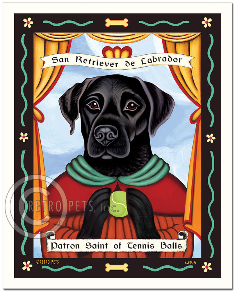 "Labrador Retriever Art ""Patron Saint of Tennis Balls"" Art Print by Krista Brooks"