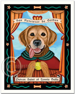 "Golden Retriever Art ""Patron Saint of Tennis Balls"" Art Print by Krista Brooks"