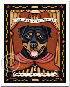 "Rottweiler Art ""Patron Saint of Belly Rubs"" Patron Pooch Art Print by Krista Brooks"