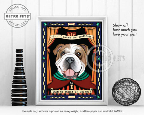 "Bulldog Art ""Patron Saint of Slobber"" Patron Pooch Art Print by Krista Brooks"