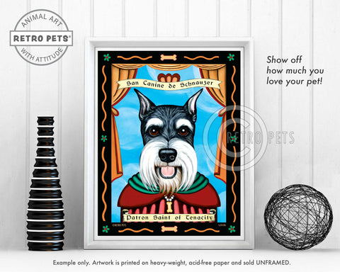"Schnauzer Art ""Patron Saint of Tenacity"" Art Print by Krista Brooks"