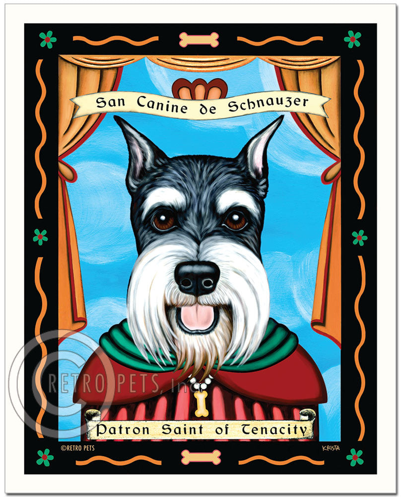 "Schnauzer Art ""Patron Saint of Tenacity"" Patron Pooch Art Print by Krista Brooks"