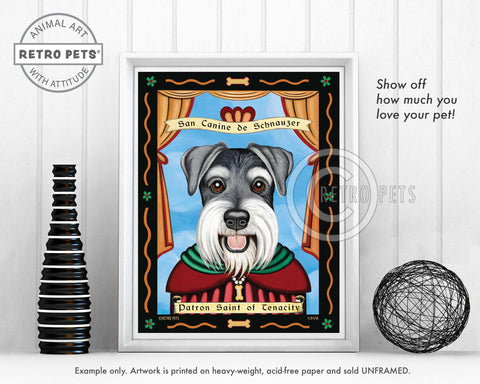 "Schnauzer Art - Uncropped ""Patron Saint of Tenacity"" Art Print by Krista Brooks"