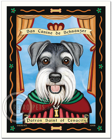 "Schnauzer Art ""Patron Saint of Tenacity"" Uncropped Patron Pooch Art Print by Krista Brooks"