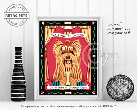 "Yorkshire Terrier Art - Show-cut ""Saint of Perpetual Treats"" Art Print by Krista Brooks"