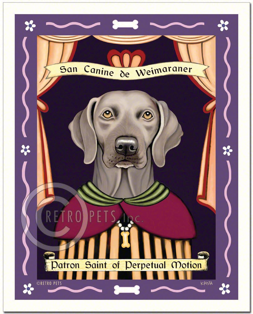 "Weimaraner Art - Amber Eyes ""Saint of Perpetual Motion"" Art Print by Krista Brooks"