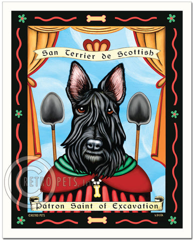 "Scottish Terrier Art ""Saint of Excavation"" Paptron Pooch Art Print by Krista Brooks"