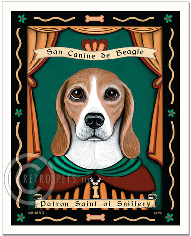 "Beagle Art ""Patron Saint of Sniffery"" Art Print by Krista Brooks"