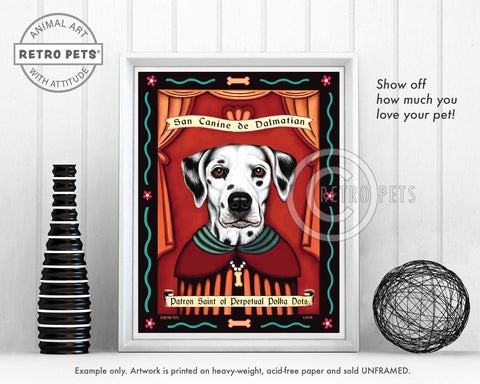 "Dalmatian Art - Brown Eyes ""Patron Saint of Polka Dots"" Art Print by Krista Brooks"