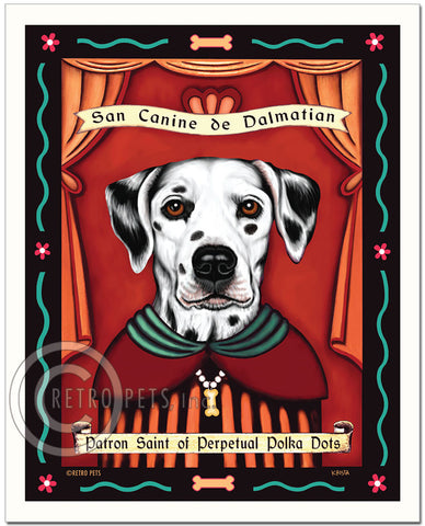 "Dalmatian Art ""Patron Saint of Polka Dots"" Art Print by Krista Brooks"