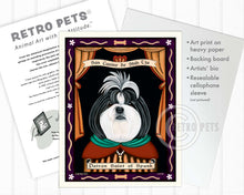 "Load image into Gallery viewer, Shih-Tzu Art - B/W ""Saint of Ankle Spunk"" Art Print by Krista Brooks"
