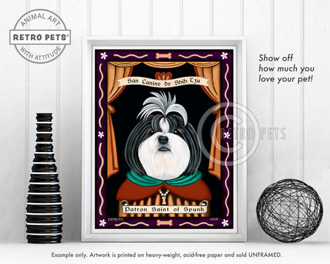 "Shih-Tzu Art - B/W ""Saint of Ankle Spunk"" Art Print by Krista Brooks"