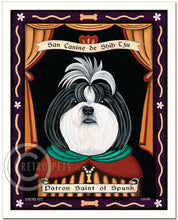 "Load image into Gallery viewer, Shih-Tzu Art ""Saint of Ankle Spunk"" Patron Pooch Art Print by Krista Brooks"