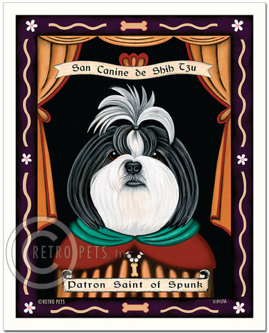 "Shih-Tzu Art ""Saint of Ankle Spunk"" Patron Pooch Art Print by Krista Brooks"