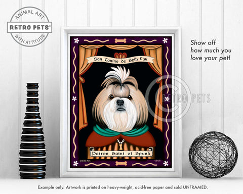 "Shih-Tzu Art - Blonde & White ""Saint of Ankle Spunk"" Art Print by Krista Brooks"