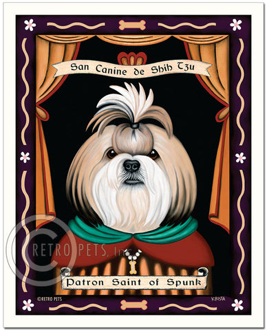 "Shih-Tzu Art ""Saint of Ankle Spunk"" Blonde & White Patron Pooch Art Print by Krista Brooks"