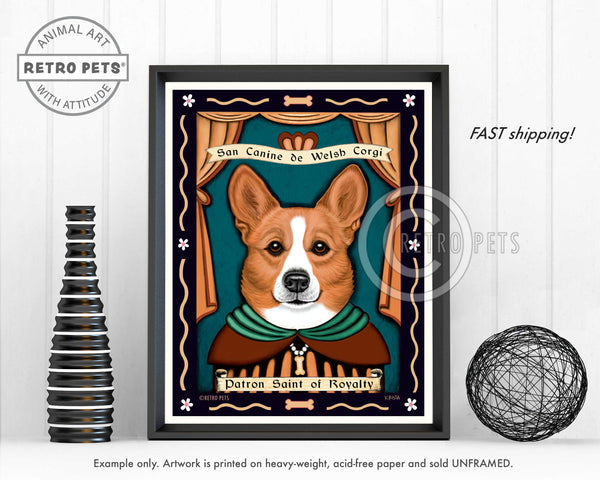 "Corgi Art ""Patron Saint of Royalty"" Art Print by Krista Brooks"