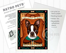 "Load image into Gallery viewer, Boston Terrier Art - Brown/White ""Patron Saint of Tenacity"" Art Print by Krista Brooks"