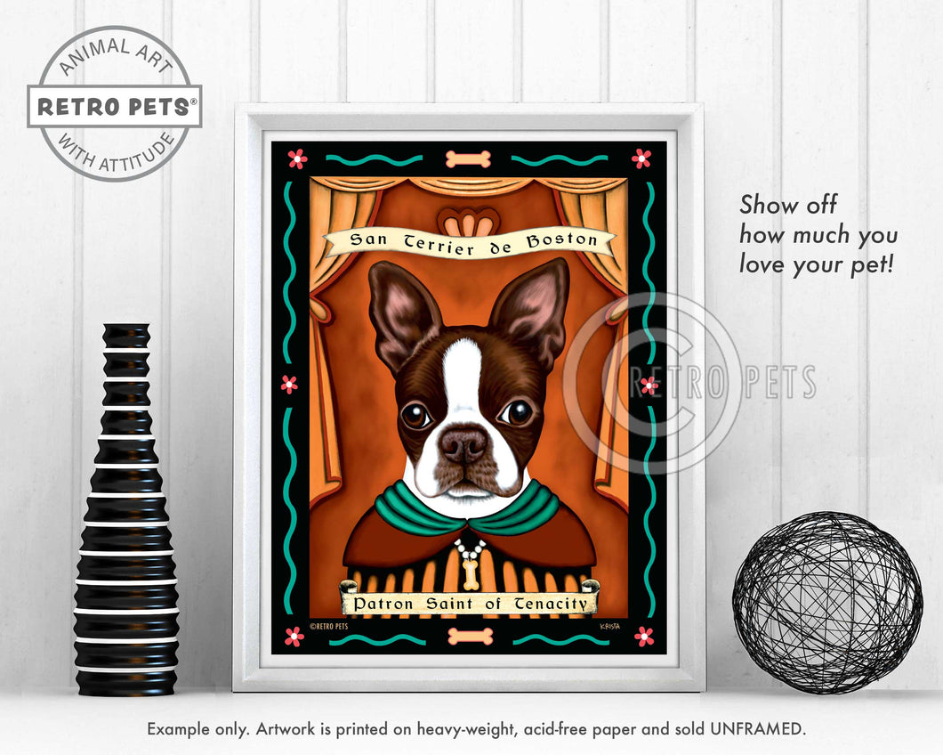 Boston Terrier Art - Brown/White