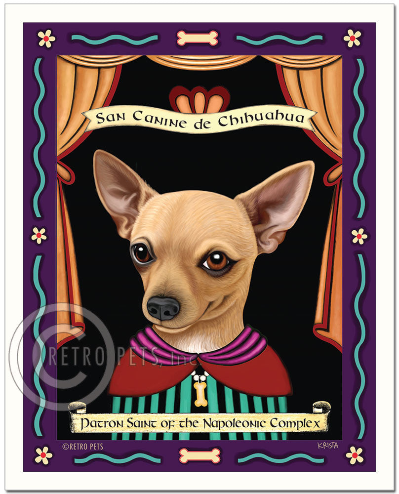 "Chihuahua Art - Buff ""Patron Saint of the Napoleonic"" Art Print by Krista Brooks"