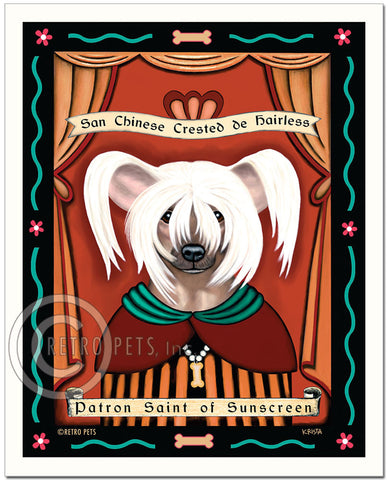 "Chinese Crested Art ""Patron Saint of Sunscreen"" Art Print by Krista Brooks"