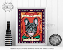 "Load image into Gallery viewer, French Bulldog Art ""Patron Saint of Smiles"" Art Print by Krista Brooks"