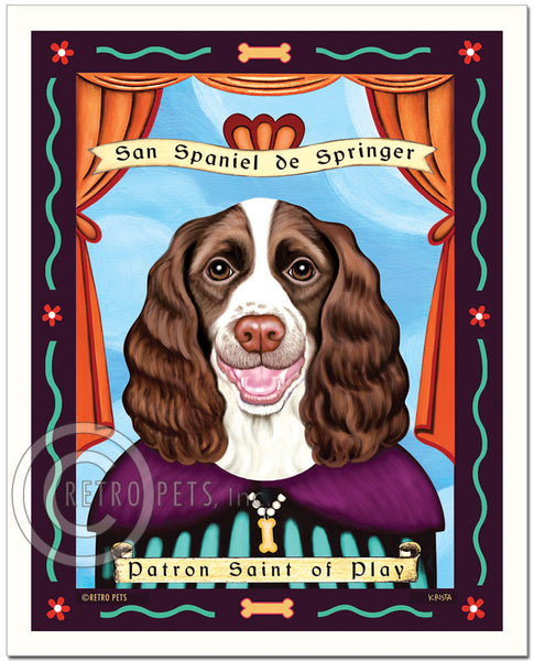 "Springer Spaniel Art - Liver & White ""Patron Saint of Play"" Art Print by Krista Brooks"